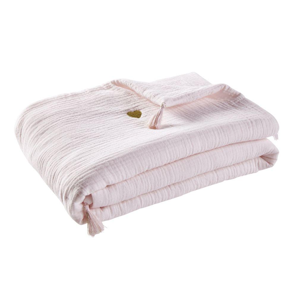 Plaid en coton blanc brodé cœurs dorés à pompons 75x100