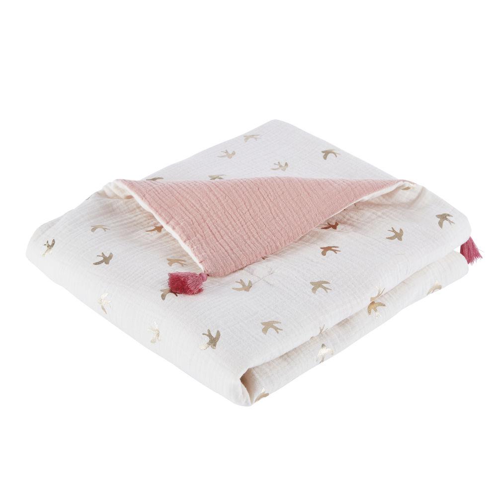Plaid en gaze de coton bio rose et écru imprimé hirondelles 75x100
