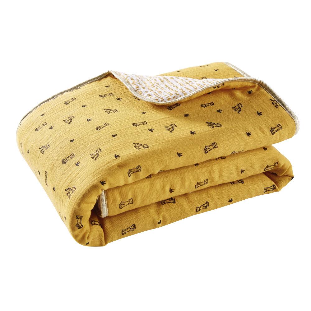 Plaid en gaze de coton écru et jaune moutarde à motifs 75x100