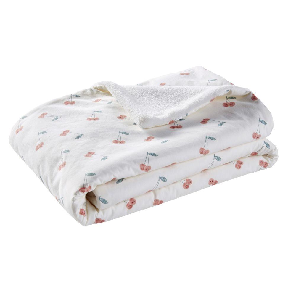 Plaid en popeline de coton blanc imprimé cerises 75x100