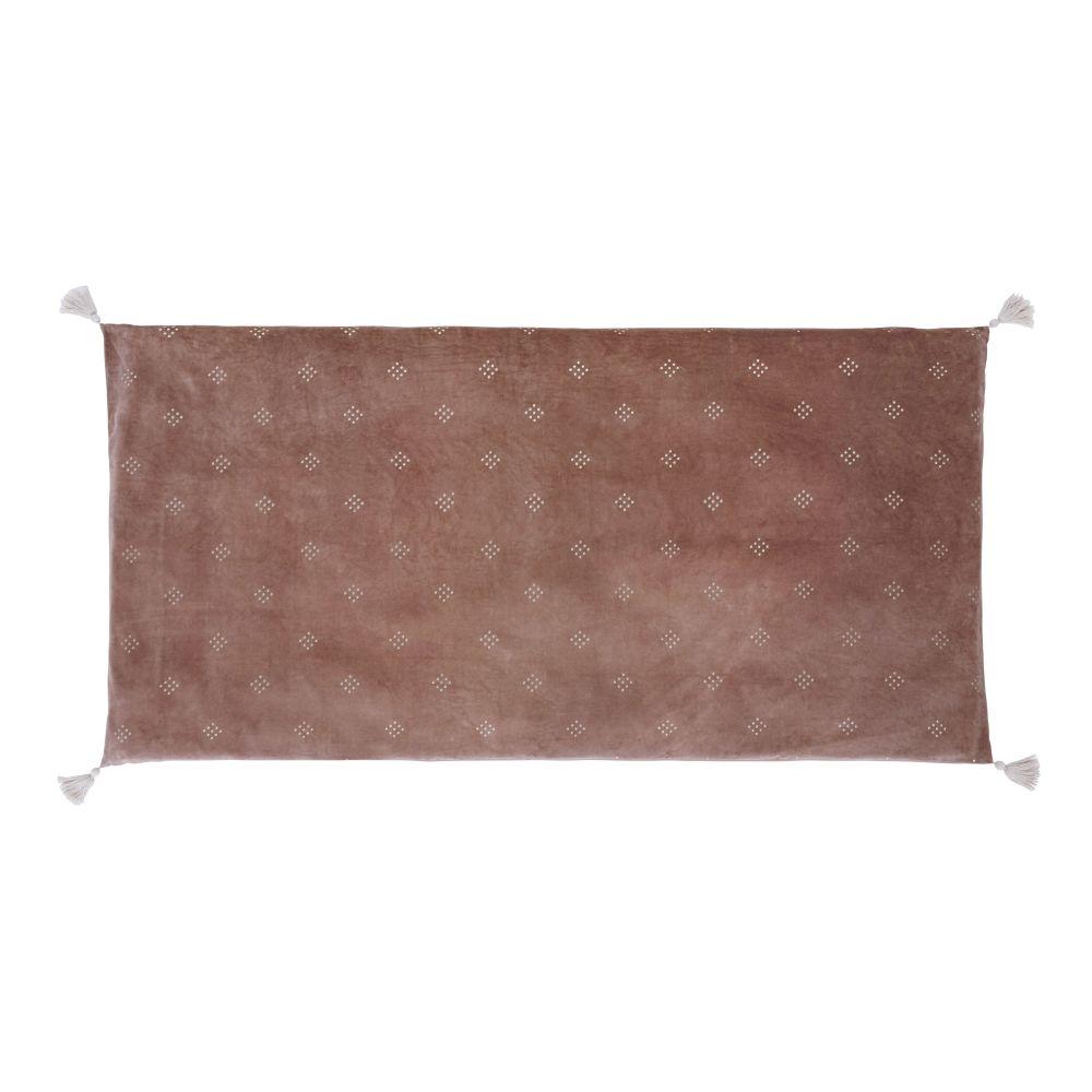 Plaid en velours de coton bio vieux rose avec pompons100x200