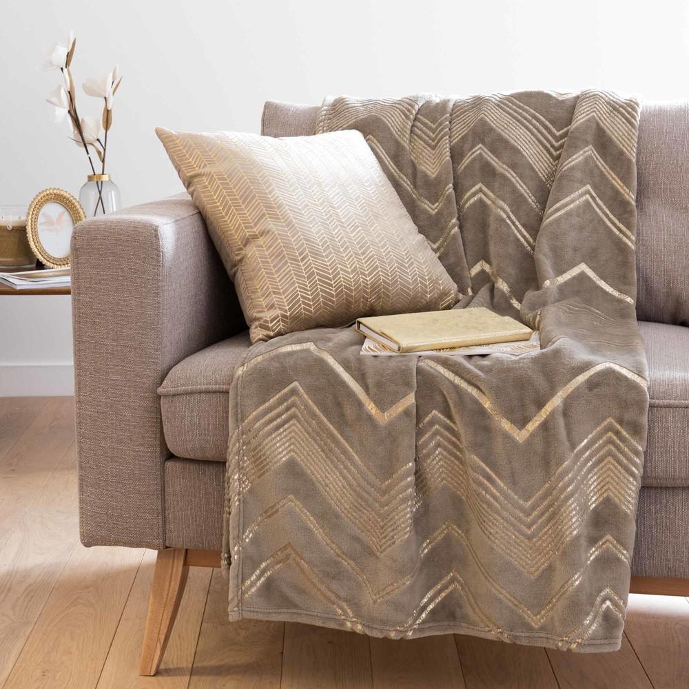 Plaid gris et doré motifs graphiques 150x230
