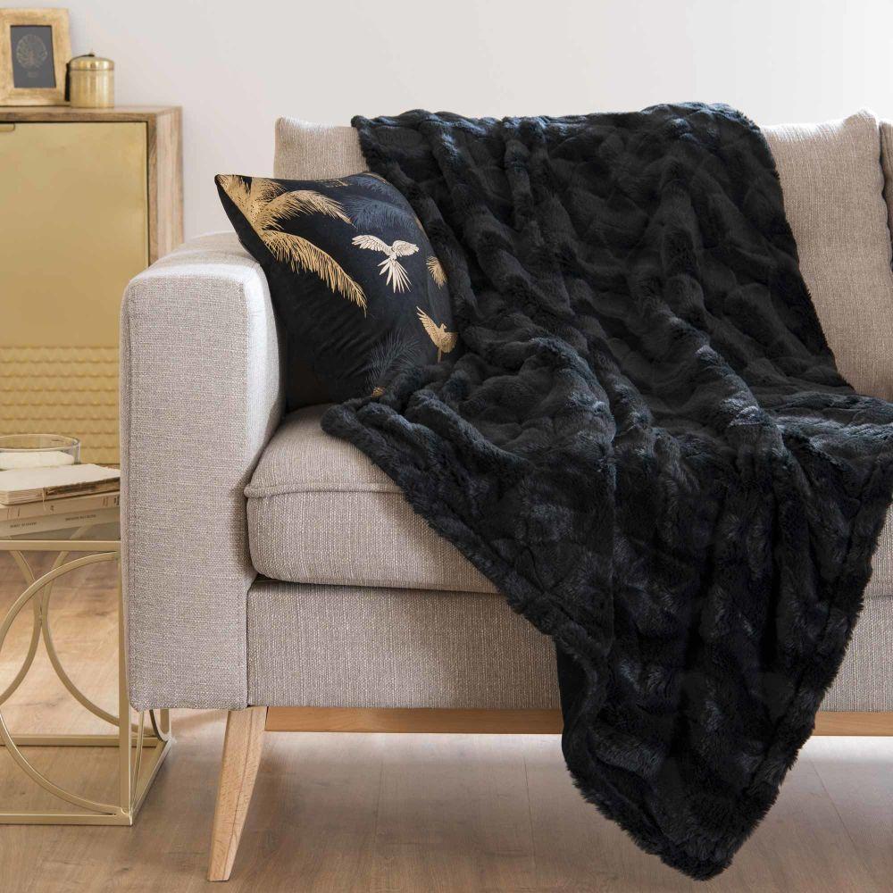 Plaid imitation fourrure noire 125x150