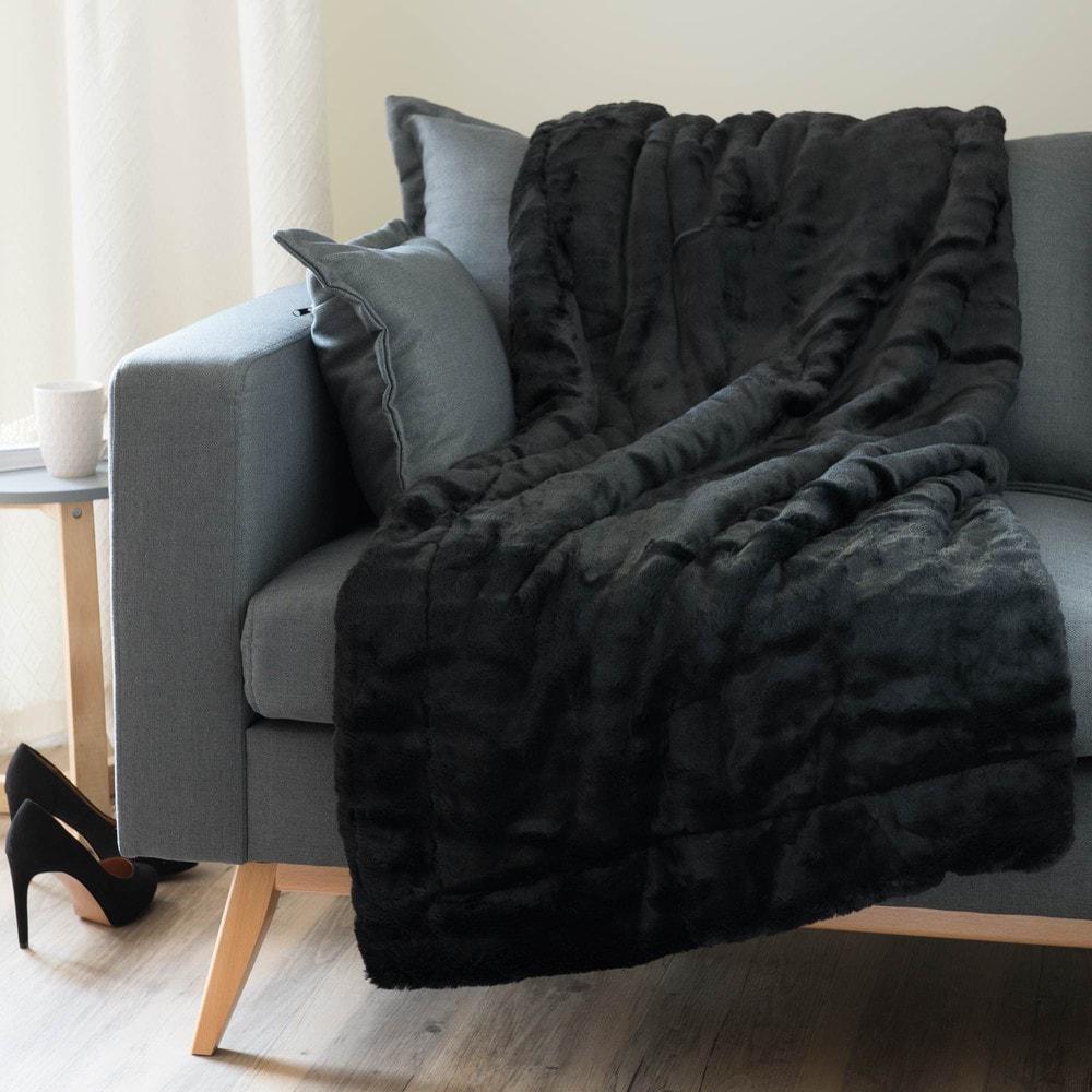 Plaid imitation fourrure noire 150x180