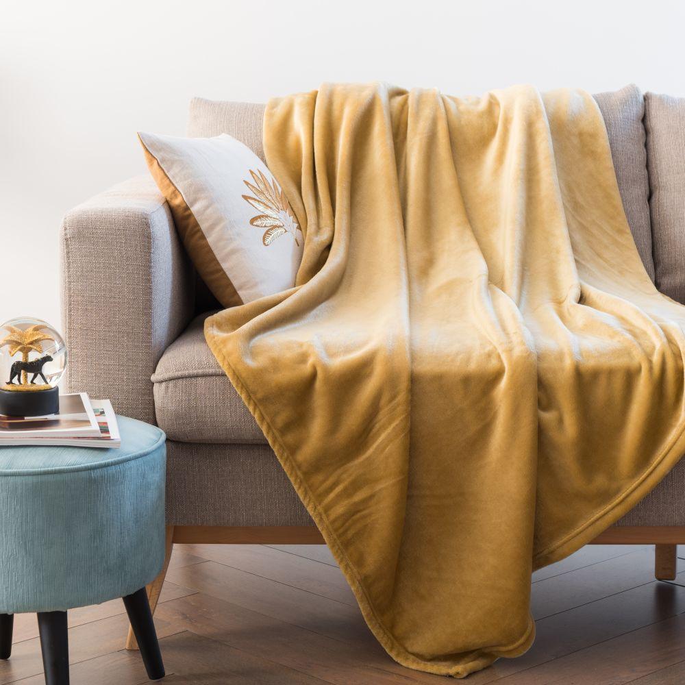 Plaid jaune moutarde 160x210