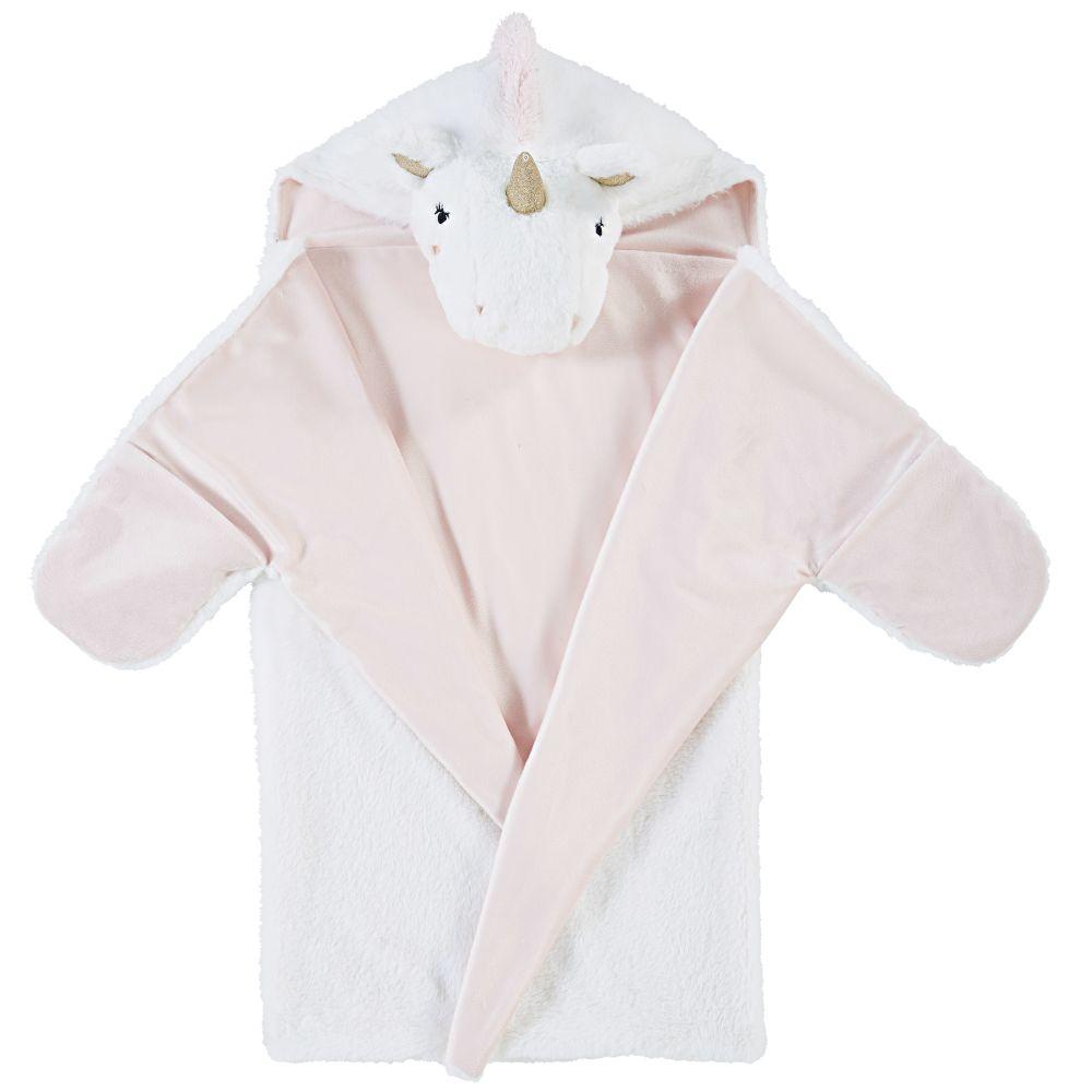 Plaid licorne rose et blanc 80x120