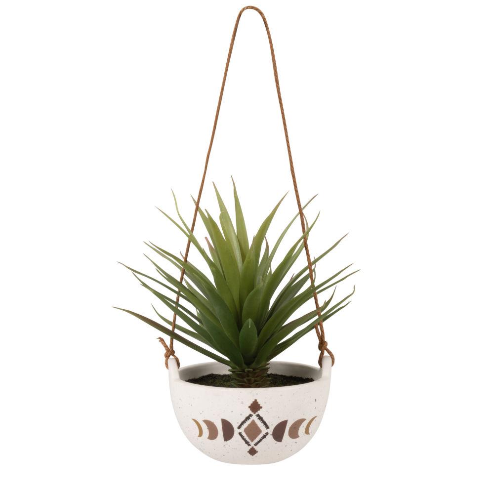 Plante artificielle et pot à suspendre en grès moucheté, doré, ocre et marron