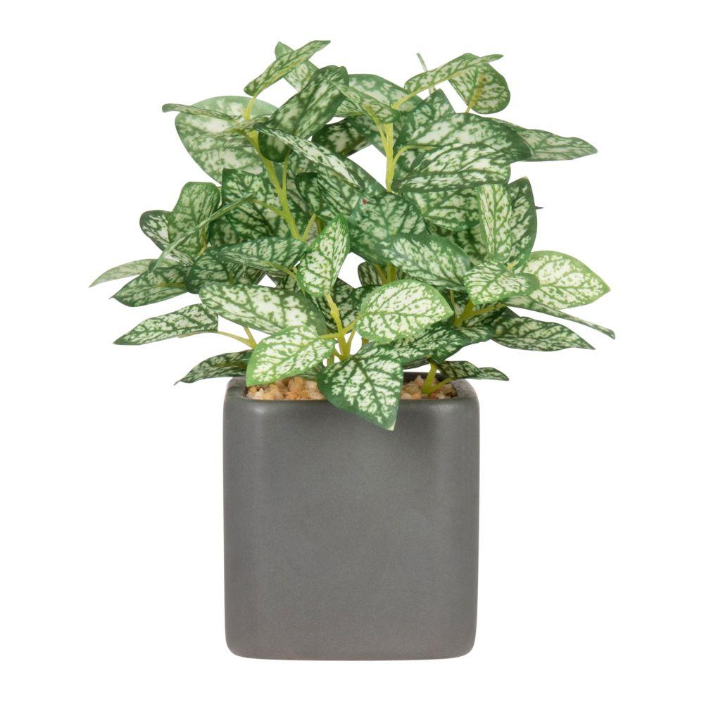 Plante artificielle et pot en céramique grise