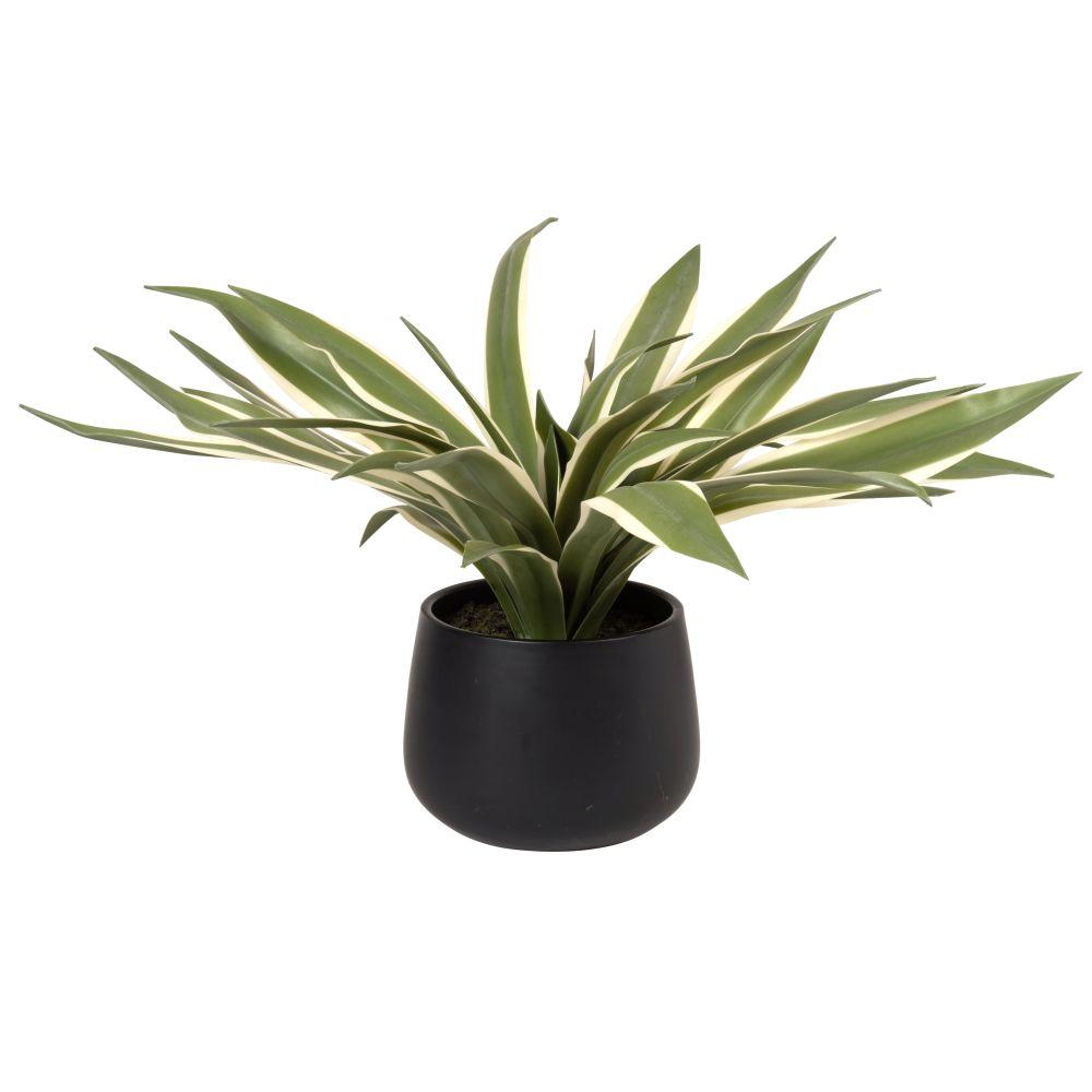 Plante artificielle et pot en céramique noire