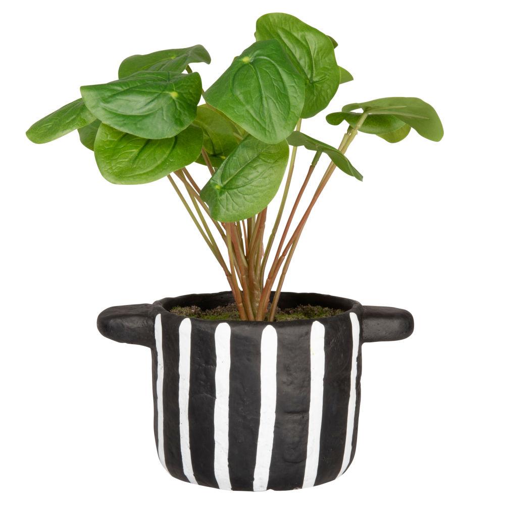 Plante artificielle et pot noir et blanc