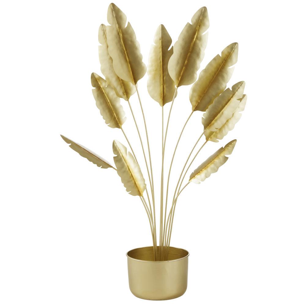 Plante en pot en métal doré brillant H99