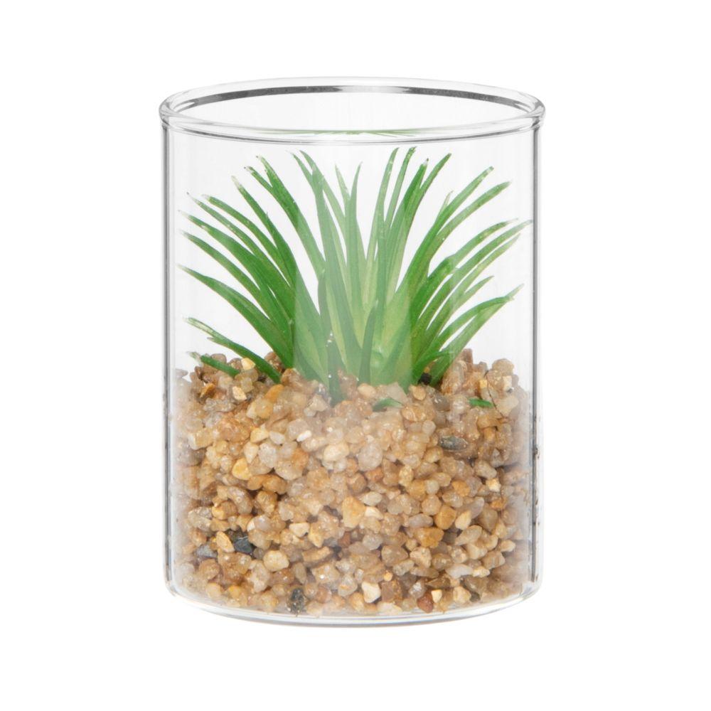 Plante grasse artificielle pot en verre