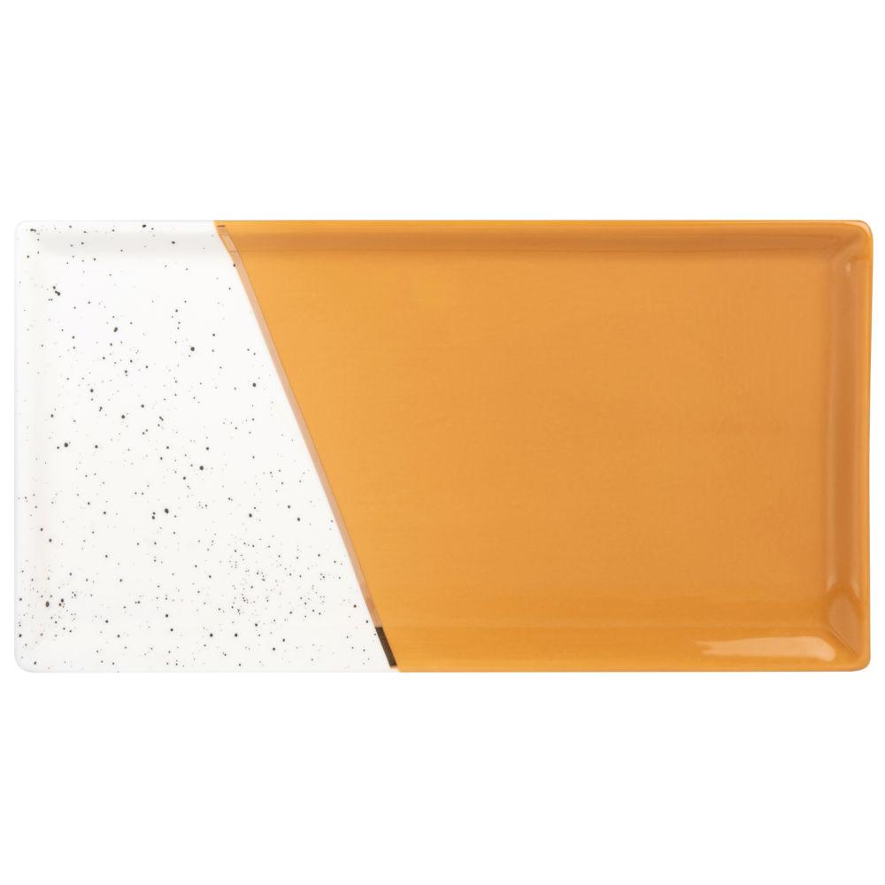 Plat en porcelaine jaune moutarde et blanche