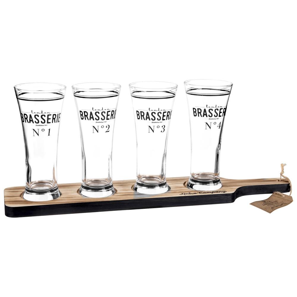 Plateau 4 verres à bière en verre