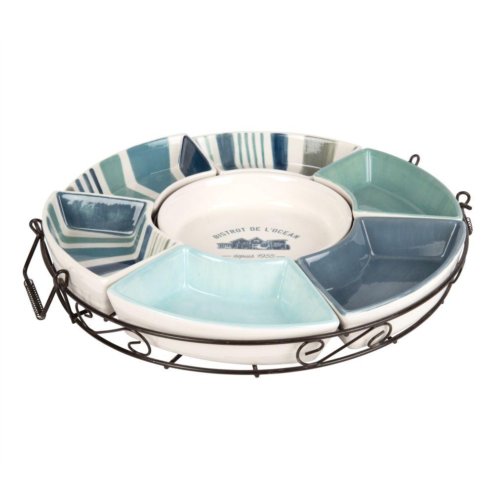 Plateau apéritif en métal noir 7 coupelles en faïence bleue et blanche
