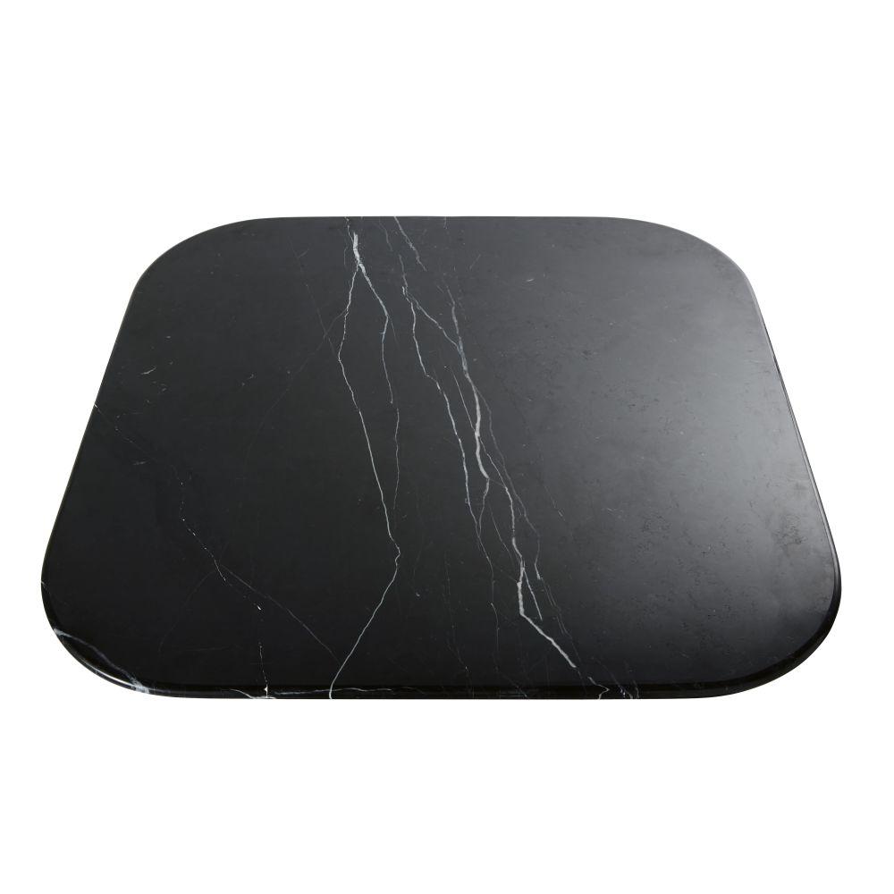 Plateau de table en pierre effet marbre noir 4 personnes L90