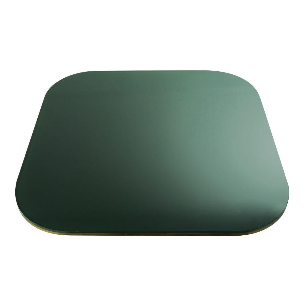 Plateau de table en verre fumé vert 4 personnes L90