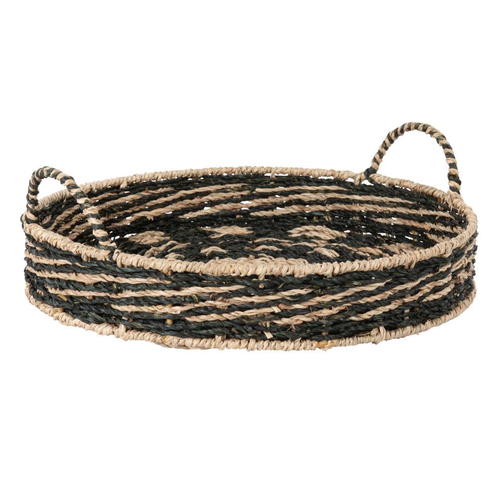 Plateau en fibre végétale à rayures noires