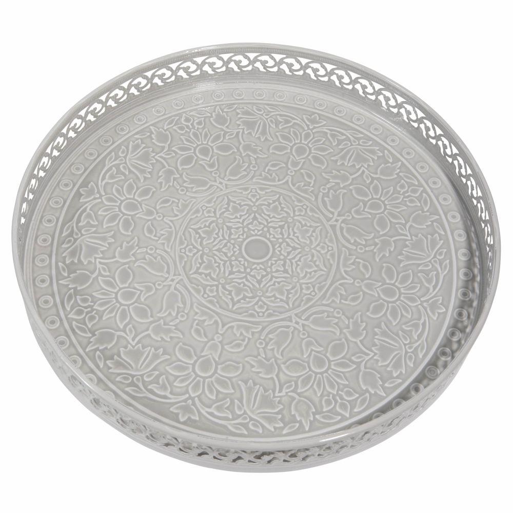 Plateau en métal gris D 31 cm