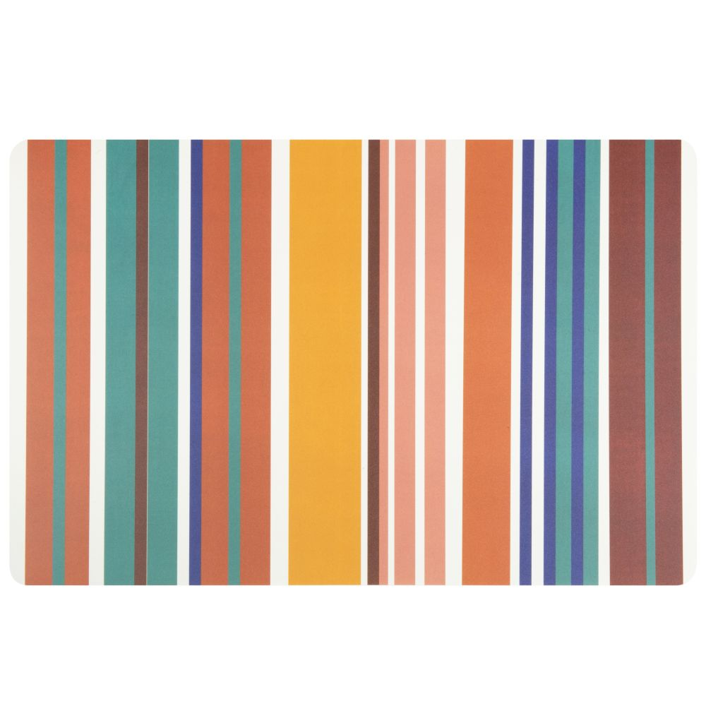 Plateau en polypropylène motifs à rayures multicolores