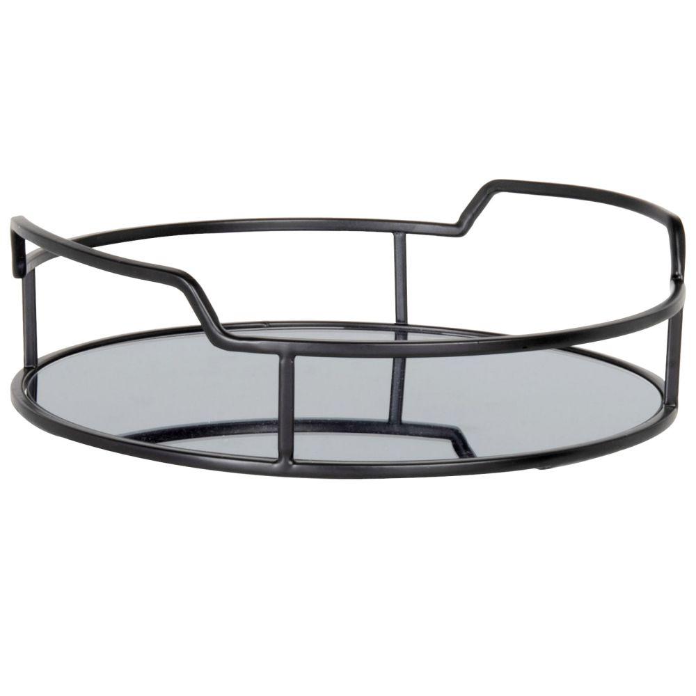 Plateau miroir en métal noir