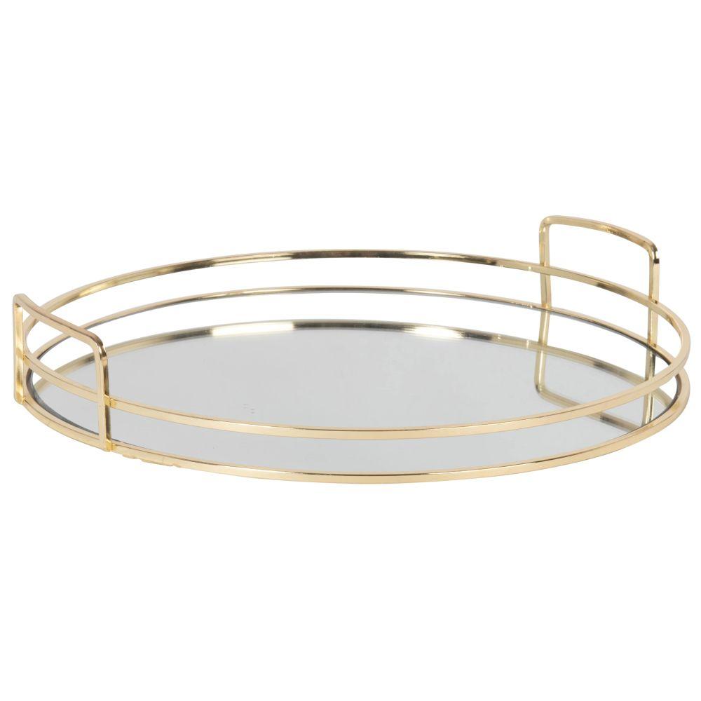 Plateau miroir rond en métal doré