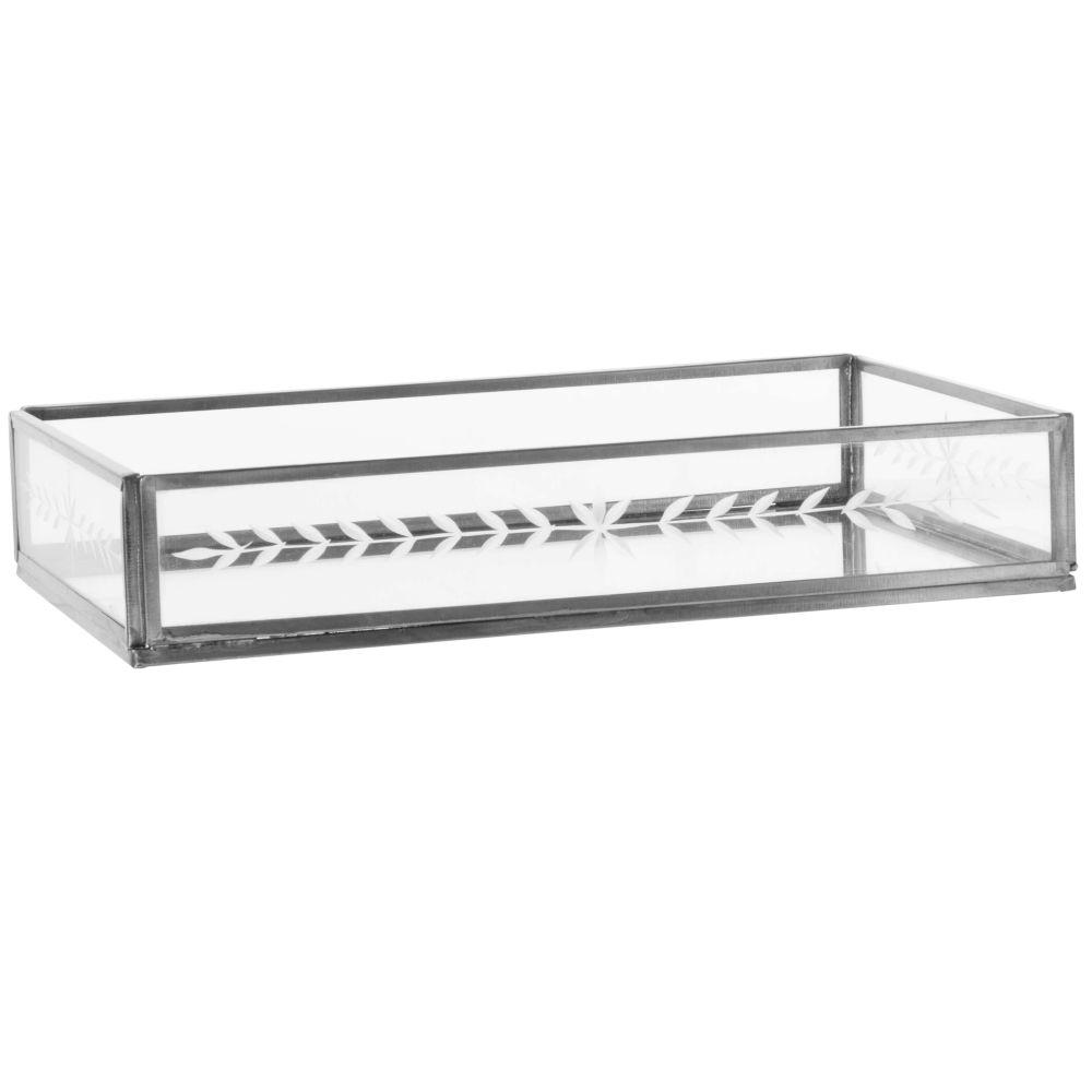 Plateau rectangulaire en verre et métal noir ajouré L23