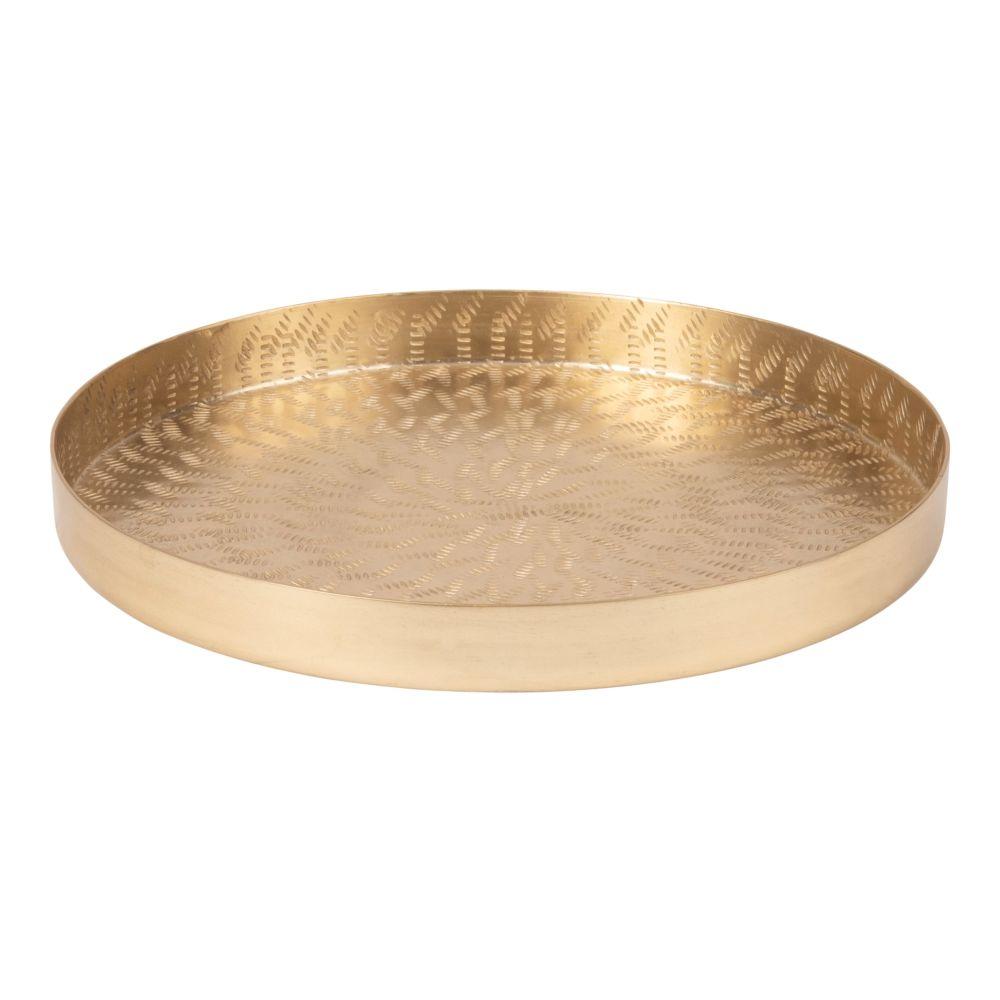 Plateau rond en métal ajouré doré