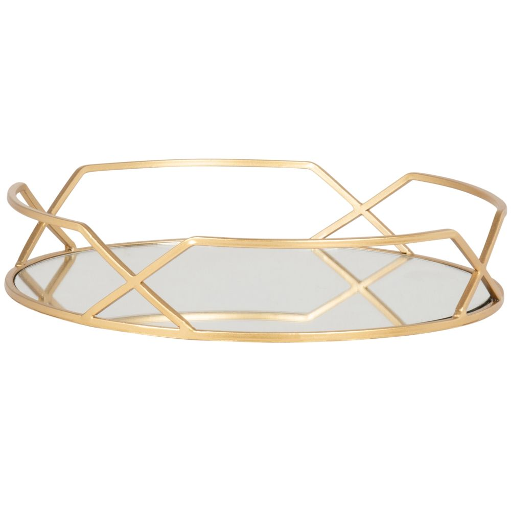 Plateau rond miroir et métal doré
