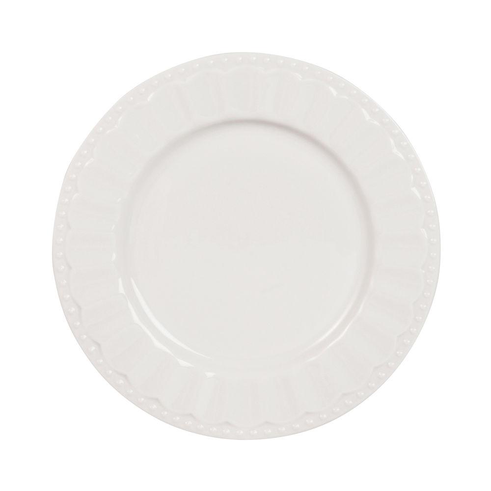 Plato de postre de porcelana blanca