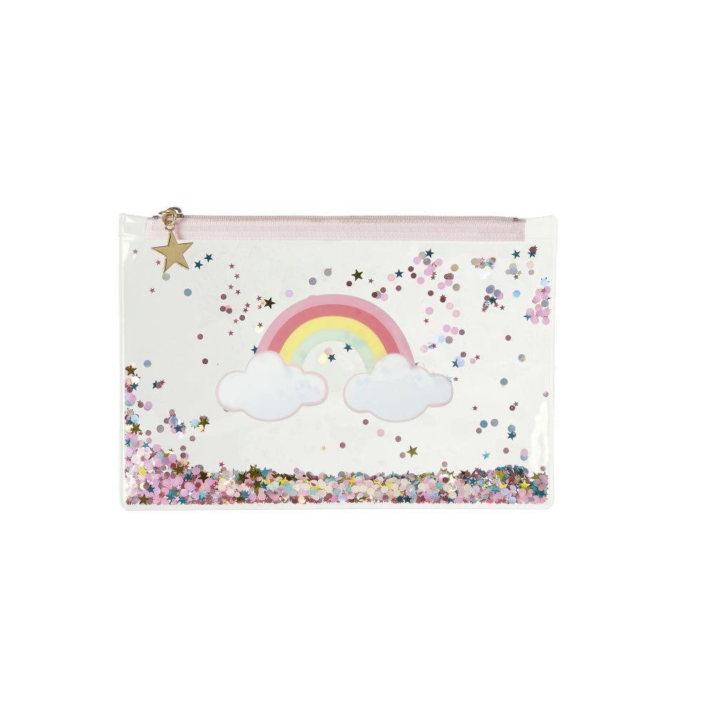 Pochette à paillettes multicolores imprimé arc-en-ciel