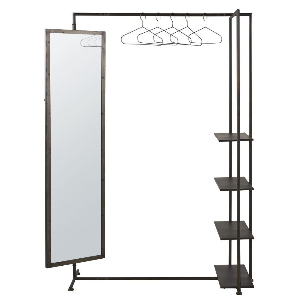 Portant en métal noir avec miroir et étagères