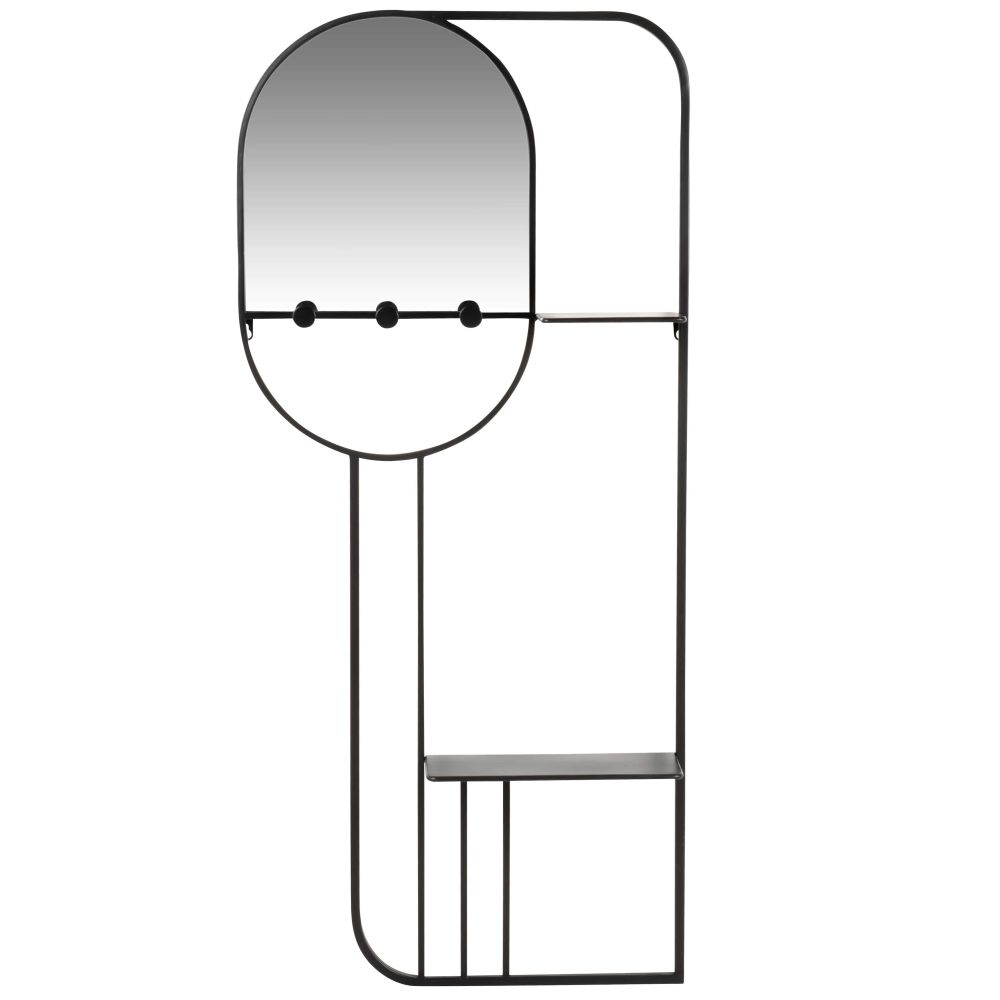 Portant en métal noir et miroir