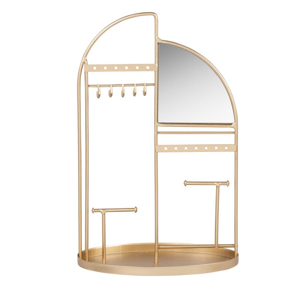 Porte-bijoux avec miroir en métal doré