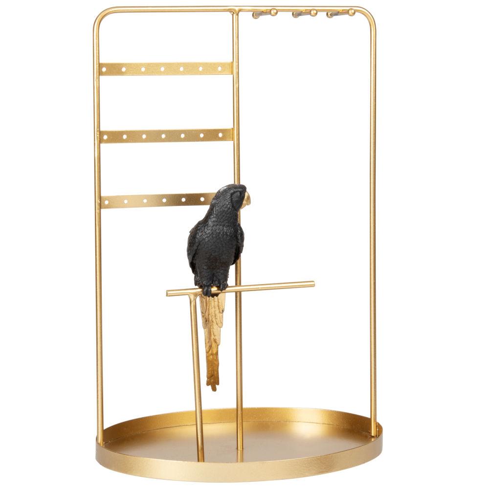 Porte-bijoux avec perroquet en métal doré