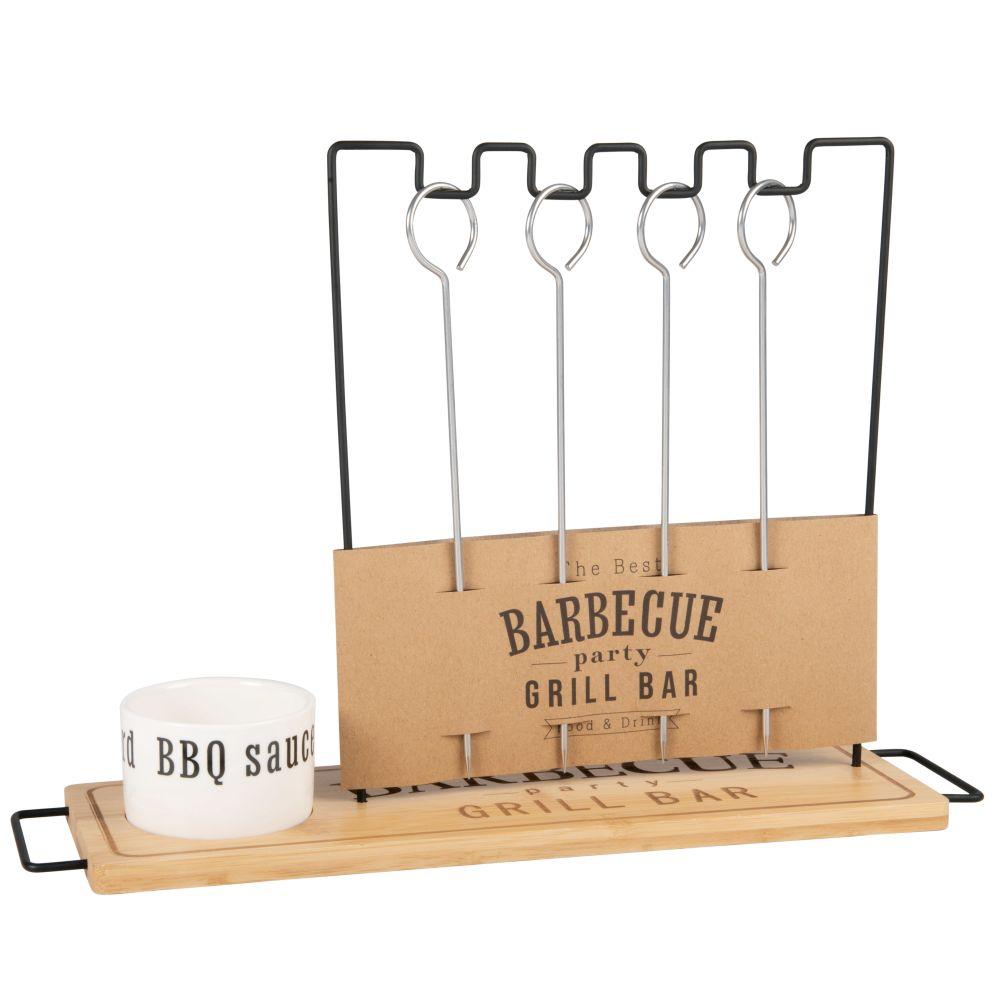 Porte-brochettes pour barbecue avec coupelle à sauce en porcelaine