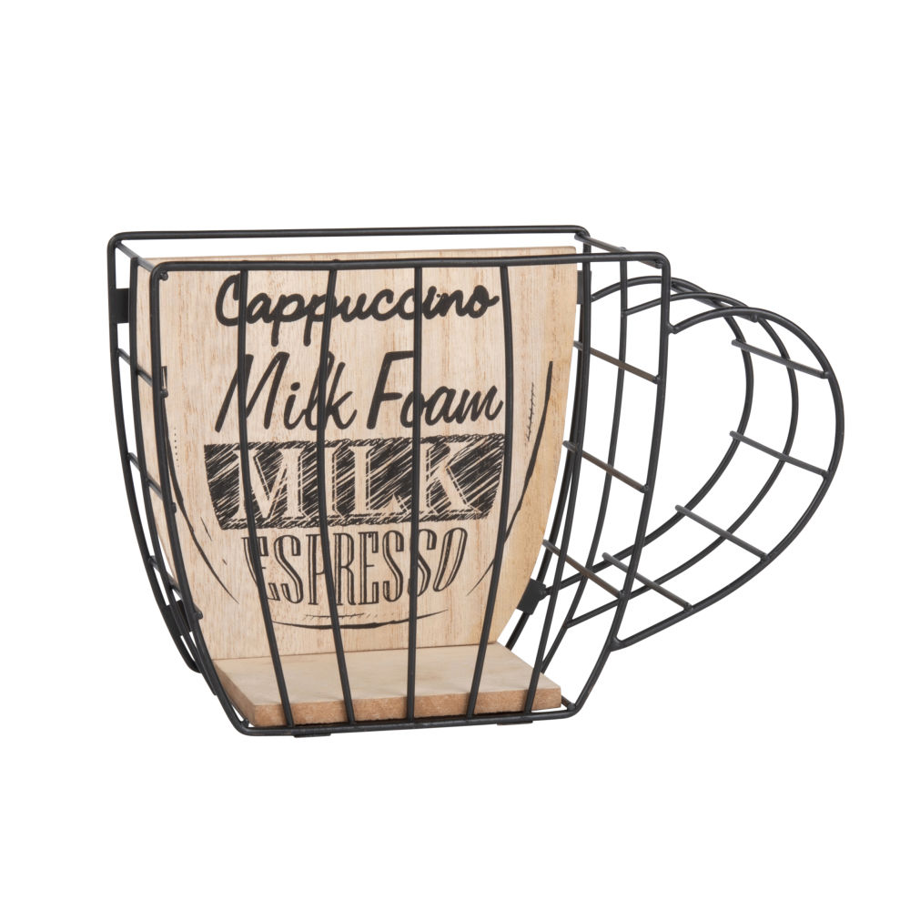Porte-capsules tasse en métal noir