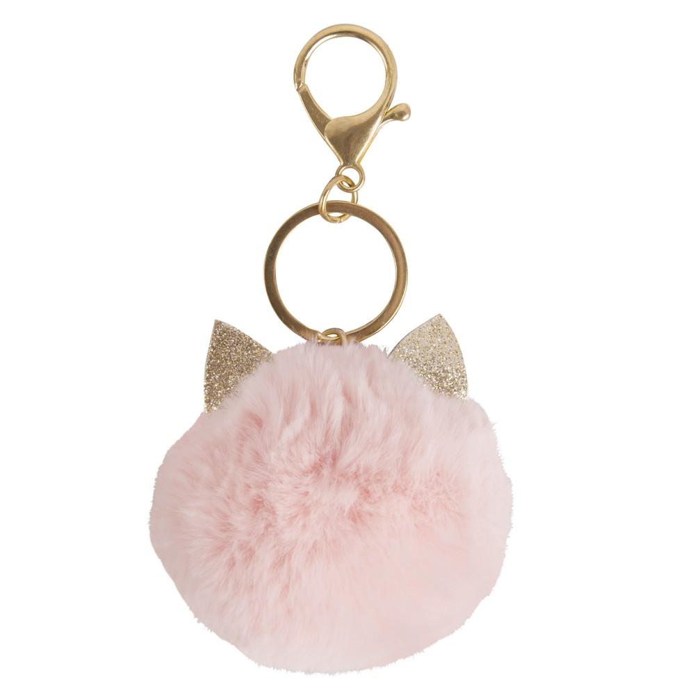 Porte-clés en pompon tête de chat rose clair