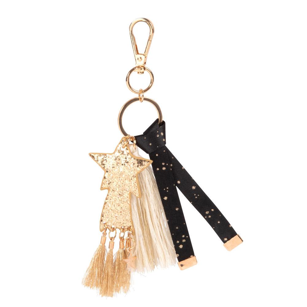 Porte-clés étoile, ruban et pompon noir et doré