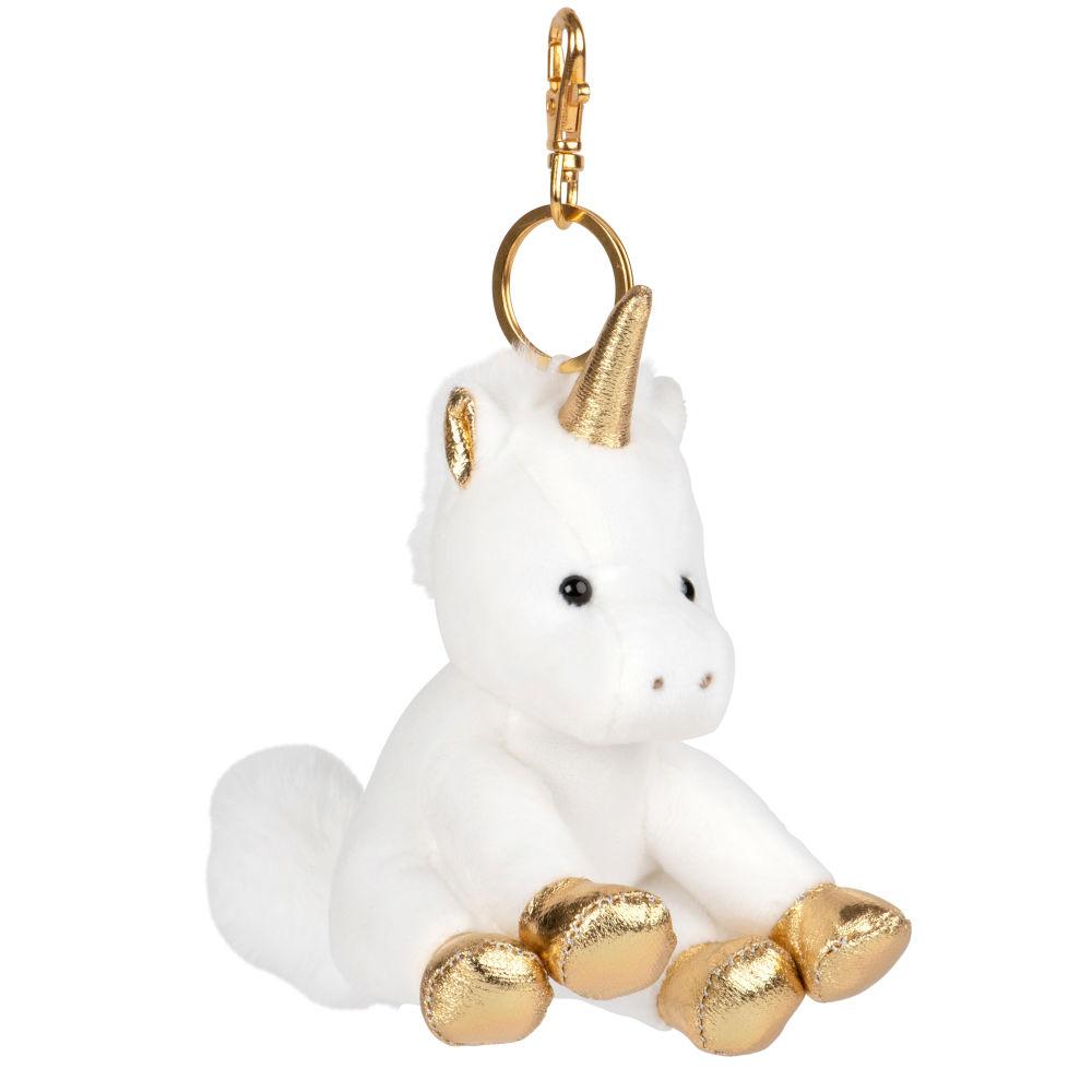 Porte-clés licorne blanc et doré