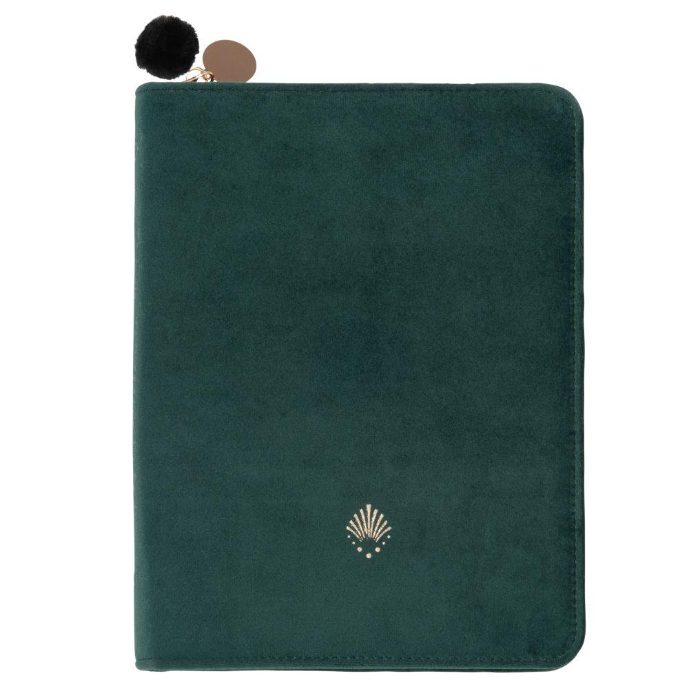 Porte-documents en velours de coton vert à motif doré