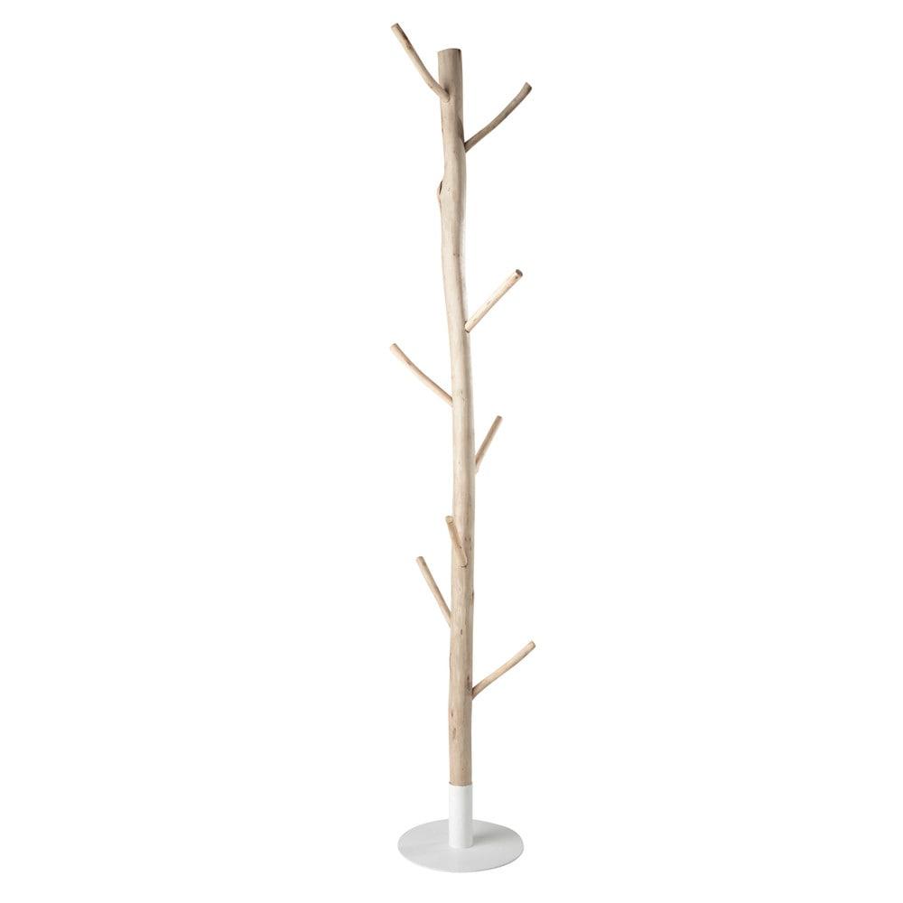 Porte-manteau tronc d'arbre en eucalyptus et métal blanc