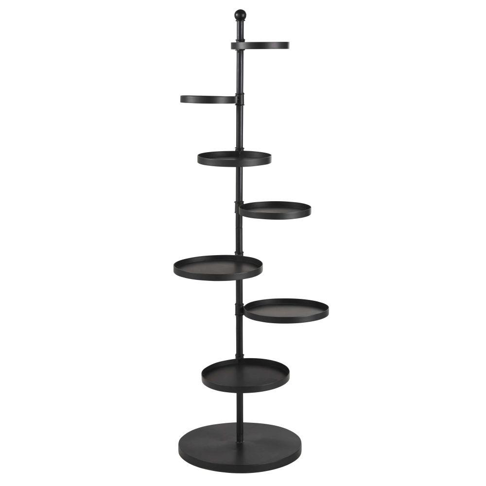 Porte-plantes 6 plateaux en métal noir mat H135