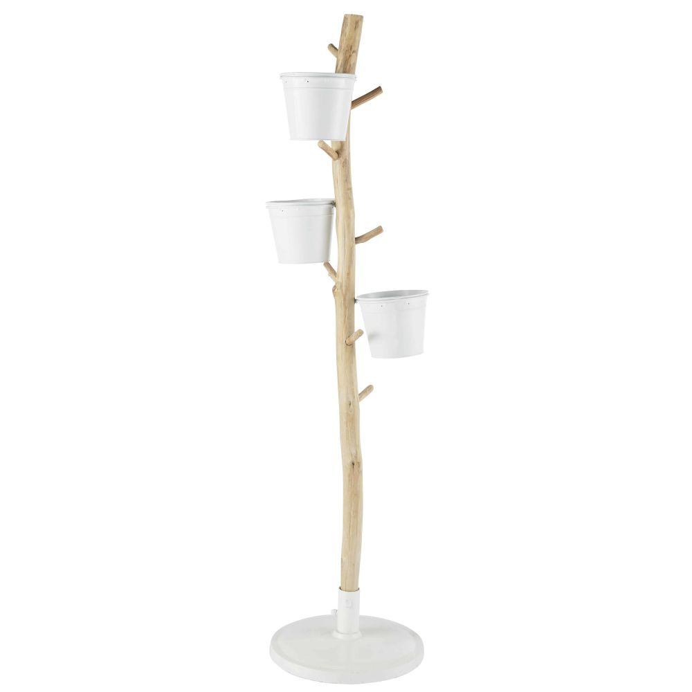 Porte-plantes en sapin et métal blanc