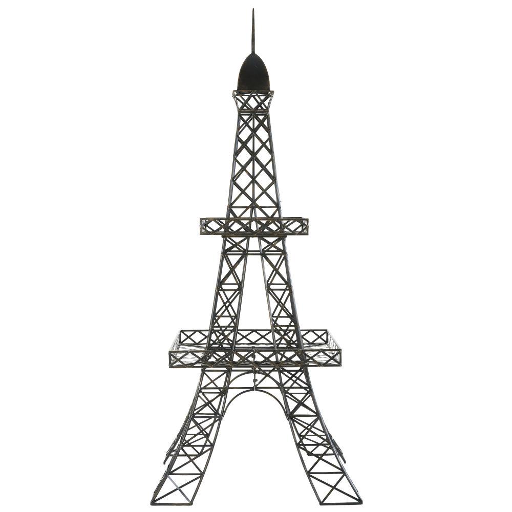 Porte-plantes Tour Eiffel en métal noir