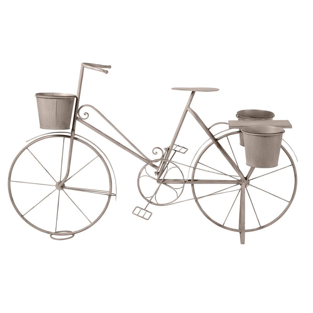 Porte-plantes vélo en métal gris effet vieilli