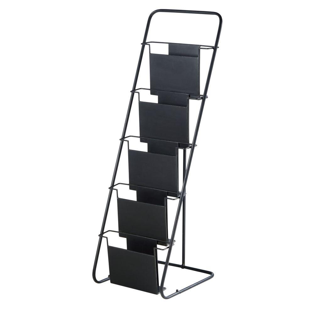 Porte-revues 5 étagères en métal noir 107x36