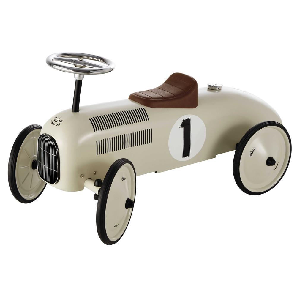 Porteur voiture en métal blanc crème