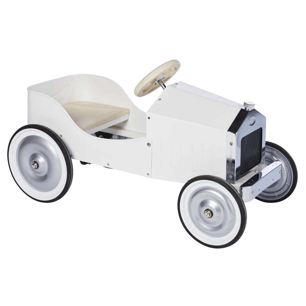 Porteur voiture vintage en métal blanc
