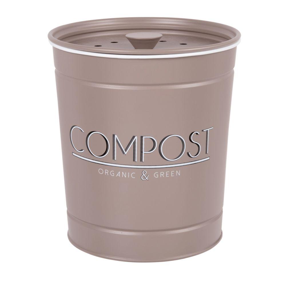 Pot à compost en métal gris et noir H18